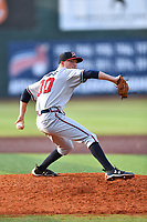 Danville Braves pitcher John Curtis (30) delivers a pitch during a game against the  Johnson City Cardinals at TVA Credit Union Ballpark on July 23, 2017 in Johnson City, Tennessee. The Cardinals defeated the Braves 8-5. (Tony Farlow/Four Seam Images)