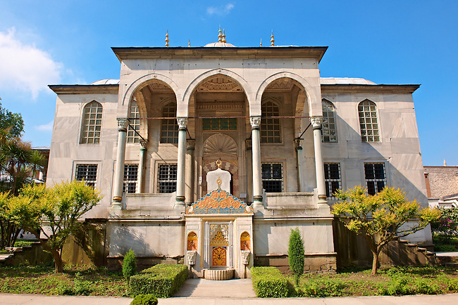 The Ottoman architecture of the Enderûn Library, or Library of Sultan Ahmed III and its fountain built in 1719, built in the inner courtyard of the  Topkapi Palace Istanbul