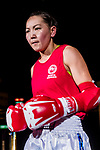 Purevjav Davaa (Red) of Mongolia enters to the ring prior the female muay 54KG division weight bout against Sakurai Mina (Not in picture) of Japan during the East Asian Muaythai Championships 2017 at the Queen Elizabeth Stadium on 11 August 2017, in Hong Kong, China. Photo by Yu Chun Christopher Wong / Power Sport Images