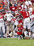 Ball State Cardinals running back Jahwan Edwards (38) in action during the game between the Ball State Cardinals  and the Oklahoma Sooners at the Oklahoma Memorial Stadium in Norman, Oklahoma. OU defeats Ball State 62 to 6.
