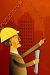 Illustrative image of an engineer holding blueprints
