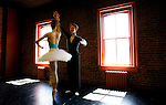 "Shandelle Sporer and Graham McMonagle of the new Canadian Pacific Ballet company rehearse for the full length narrative classical ballet ""La Flute Magique"" in their dance studio in Victoria, British Columbia. Photo assignment for the Globe and Mail national newspaper in Canada.."