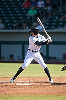 Mesa Solar Sox left fielder Daniel Woodrow (19), of the Detroit Tigers organization, at bat during an Arizona Fall League game against the Peoria Javelinas at Sloan Park on October 24, 2018 in Mesa, Arizona. Mesa defeated Peoria 4-3. (Zachary Lucy/Four Seam Images)