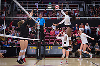 STANFORD, CA - November 15, 2017: Tami Alade, Jenna Gray at Maples Pavilion. The Stanford Cardinal defeated USC 3-0 to claim the Pac-12 conference title.