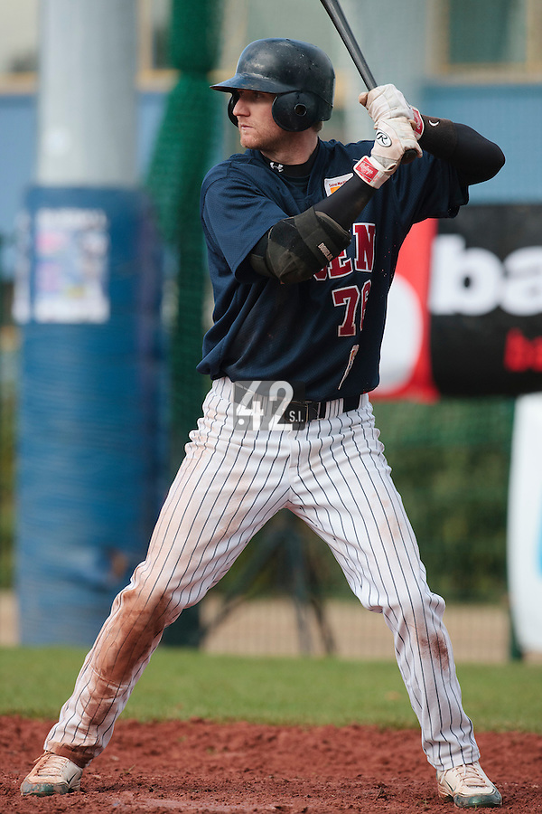 16 October 2010: Aaron Hornostaj of Rouen is seen at bat during Rouen 16-4 win over Savigny, during game 1 of the French championship finals, in Savigny sur Orge, France.