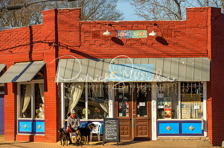 NoDa Neighborhood<br /> <br /> NoDa- Charlotte Historic Arts District, located in North Charlotte neighborhood in the North Davidson and 36th Street.<br /> <br /> NoDa resident Grant Barrier and his dog Rufus and Stella, enjoy the early morning sunshine on NoDa's main street ,North Davidson, in North Charlotte.<br /> <br /> Charlotte Photographer - PatrickSchneiderPhoto.com