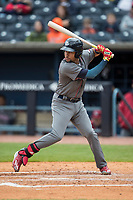 Lehigh Valley IronPigs shortstop JP Crawford (3) at bat against the Toledo Mud Hens during the International League baseball game on April 30, 2017 at Fifth Third Field in Toledo, Ohio. Toledo defeated Lehigh Valley 6-4. (Andrew Woolley/Four Seam Images)