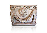 End panel of a Roman relief garland  sculpted sarcophagus, style typical of Pamphylia, 3rd Century AD, Konya Archaeological Museum, Turkey. Against a white background