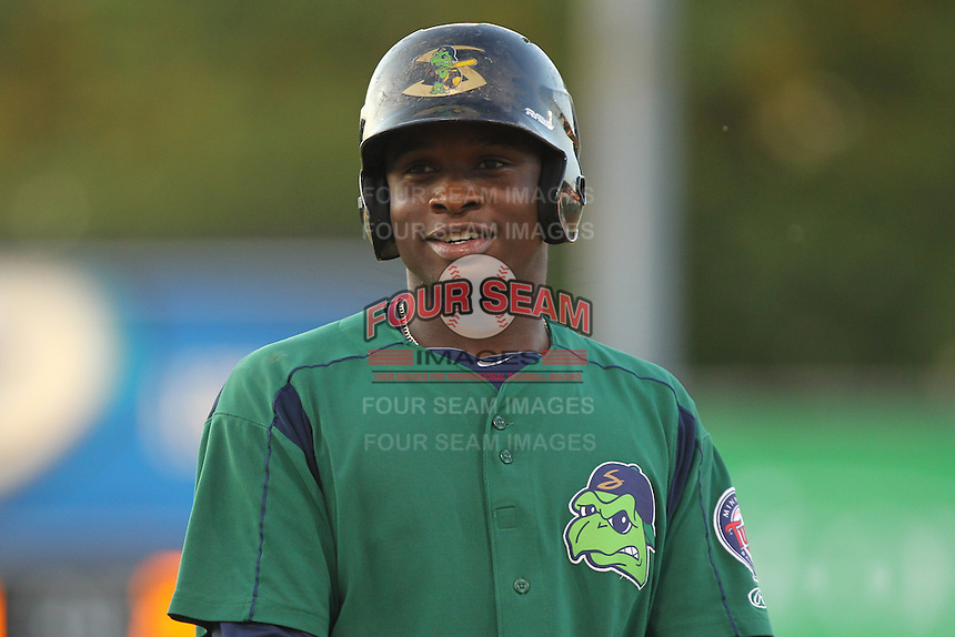 Beloit Snappers third baseman Miguel Sano #33 smiles during a game against the Kane County Cougars at Fifth Third Bank Ballpark on June 26, 2012 in Geneva, Illinois. Beloit defeated Kane County 8-0. (Brace Hemmelgarn/Four Seam Images)