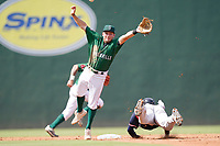 Second baseman Jake MacKenzie (11) of the Greenville Drive jumps for a throw from home as Michael Harris II (24) of the Rome Braves steals second in a game on Sunday, August 8, 2021, at Fluor Field at the West End in Greenville, South Carolina. (Tom Priddy/Four Seam Images)