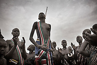 South Sudan. 23 March 2011...Dance of the still unwed Dinka girls in a cattle camp at the river Nile, in the Southern central Sudan (Lakes state)..