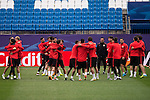 Atletico de Madrid's players during the practice session the day before the EUFA Champions League match between Atletico de Madrid and FC. Barcelona at Vicente Calderon in Madrid. April 13, 2016. (ALTERPHOTOS/Borja B.Hojas)