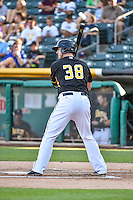 C.J. Cron (38) of the Salt Lake Bees at bat against the Albuquerque Isotopes in Pacific Coast League action at Smith's Ballpark on June 27, 2015 in Salt Lake City, Utah. The Bees defeated the Isotopes 8-6. (Stephen Smith/Four Seam Images)