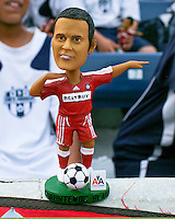A Chicago Fire fan shows off his Cuauhtemoc Blanco Bobble Head toy.  Chicago Fire defeated Toronto FC by the score of 2-1 at Toyota Park stadium, in Bridgeview, Illinois on Saturday, July 12, 2008.