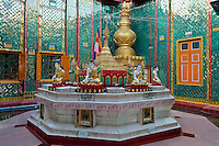 Myanmar, Burma.  Sutaungpyei Pagoda, Mandalay Hill Temple.  Prayer stations marked by the day of the week on which one was born, at which prayers may be offered to the Buddha and accompanying nat (spirit).