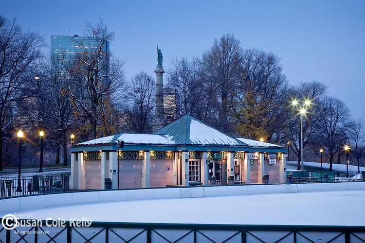 Frog Pond skating rink in Boston Common, Boston, MA