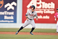 Rome Braves right fielder Braxton Davidson (24) leads off second during a game against the Asheville Tourists on May 15, 2015 in Asheville, North Carolina. The Braves defeated the Tourists 6-0. (Tony Farlow/Four Seam Images)