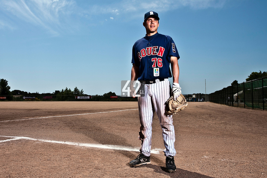 24 May 2009: Boris Marche of Rouen poses prior to the final game during the 2009 challenge de France, a tournament with the best French baseball teams - all eight elite league clubs - to determine a spot in the European Cup next year, at Montpellier, France. Rouen wins 7-5 over Savigny.