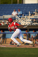 Batavia Muckdogs left fielder Isaiah White (18) at bat during a game against the Brooklyn Cyclones on July 5, 2016 at Dwyer Stadium in Batavia, New York.  Brooklyn defeated Batavia 5-1.  (Mike Janes/Four Seam Images)