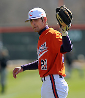 Clemson infielder Matt Sanders (21) prior to a game between the Charlotte 49ers and Clemson Tigers Feb. 22, 2009, at Doug Kingsmore Stadium in Clemson, S.C. (Photo by: Tom Priddy/Four Seam Images)