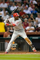 Philadelphia Phillies outfielder John Mayberry Jr #15 at bat during the Major League Baseball game against the Houston Astros at Minute Maid Park in Houston, Texas on September 13, 2011. Houston defeated Philadelphia 5-2.  (Andrew Woolley/Four Seam Images)