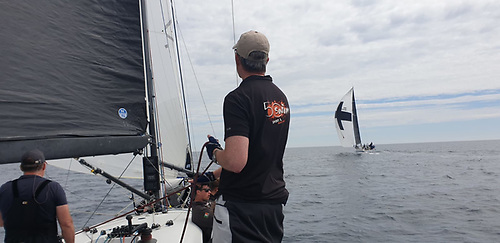 """Aboard overall leader """"Jump Juice"""" with """"Samatom"""" to windward after rounding """"Black Tom"""" mark in Courmacsherry Bay Photo: Maurice O'Connell"""