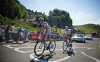 Arnaud Démare (FRA/FDJ) & Michael Matthews (AUS/Orica-GreenEDGE) are amongst the last coming up the final climb<br /> <br /> stage 10: Tarbes - La Pierre-Saint-Martin (167km)<br /> 2015 Tour de France
