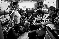 Jack Bauer (NZL/Mitchelton-Scott) stretching on the teambus ahead of the stage<br /> <br /> Stage 10: Ravenna to Modena (147km)<br /> 102nd Giro d'Italia 2019<br /> <br /> ©kramon