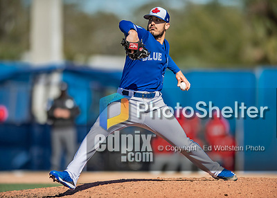 6 March 2019: Toronto Blue Jays pitcher Shawn Morimando on the mound during a Spring Training game against the Philadelphia Phillies at Dunedin Stadium in Dunedin, Florida. The Blue Jays defeated the Phillies 9-7 in Grapefruit League play. Mandatory Credit: Ed Wolfstein Photo *** RAW (NEF) Image File Available ***