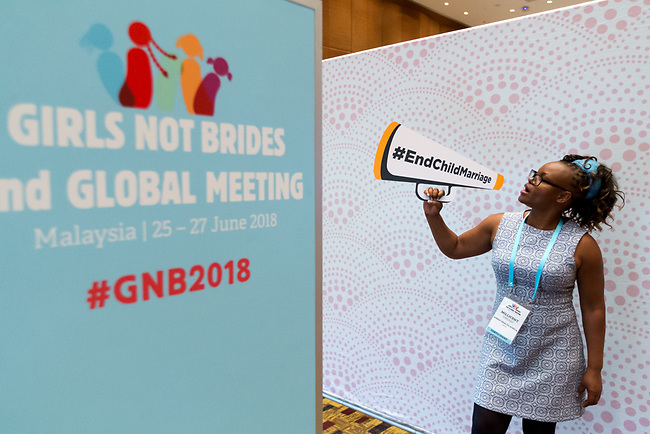 25 June, 2018, Kuala Lumpur, Malaysia : Enjoying the photo booth at the village during the Girls Not Brides Global Meeting 2018 at the Kuala Lumpur Convention Centre. Picture by Graham Crouch/Girls Not Brides
