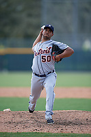 Detroit Tigers pitcher Wladimir Pinto (50) delivers a pitch during a Florida Instructional League game against the Pittsburgh Pirates on October 2, 2018 at the Pirate City in Bradenton, Florida.  (Mike Janes/Four Seam Images)