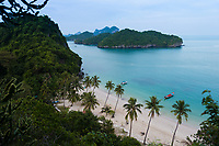 Above view of the main beach and dock of Ko Wua Talap island in Ang Thong national marine park, thailand