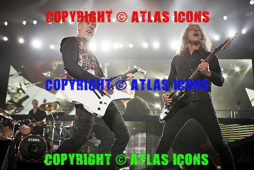 Lars Ulrich; James Hetfield; Kirk Hammett; METALLICA; Live: 2012<br /> Photo Credit: JOSH WITHERS/ATLASICONS.COM