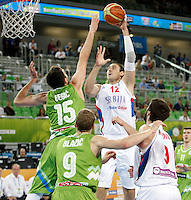 """Nenad Krstic of Serbia in action during European basketball championship """"Eurobasket 2013"""" classification basketball game from 5th to 8th place between Serbia and Slovenia in Stozice Arena in Ljubljana, Slovenia, on September 19. 2013. (credit: Pedja Milosavljevic  / thepedja@gmail.com / +381641260959)"""