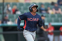 Braulio Vasquez (20) of the Rome Braves hustles down the first base line against the Kannapolis Intimidators at Kannapolis Intimidators Stadium on April 7, 2019 in Kannapolis, North Carolina. The Intimidators defeated the Braves 2-1. (Brian Westerholt/Four Seam Images)
