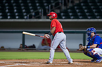 AZL Angels catcher Manuel Herazo (7) at bat against the AZL Cubs on August 31, 2017 at Sloan Park in Mesa, Arizona. AZL Cubs defeated the AZL Angels 9-2. (Zachary Lucy/Four Seam Images)