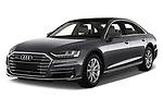 2018 Audi A8 Base 4 Door Sedan angular front stock photos of front three quarter view