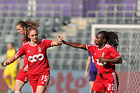 Elien Nelissen (15) of Standard celebrate with Welma Fon (22) of Standard during a female soccer game between RSC Anderlecht Dames and Standard Femina de Liege on the sixth matchday of the 2021 - 2022 season of Belgian Womens Super League , Saturday 9 th of October 2021  in Brussels , Belgium . PHOTO SPORTPIX   SEVIL OKTEM