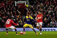 Sunday 05 January 2014<br /> Pictured:( L-R )  Shinji Kagawa  Jonathan de Guzman and Javier Hern?ndez <br /> Re: Manchester Utd FC v Swansea City FA cup third round match at Old Trafford, Manchester