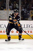 February 17th 2007:  Dmitri Kalinin (45) of the Buffalo Sabres looks for the puck vs. the Boston Bruins at HSBC Arena in Buffalo, NY.  The Bruins defeated the Sabres 4-3 in a shootout.