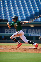 Justin Javier Colon Jaime (1) of Montverde Academy in Clermont, FL during the Perfect Game National Showcase at Hoover Metropolitan Stadium on June 20, 2020 in Hoover, Alabama. (Mike Janes/Four Seam Images)