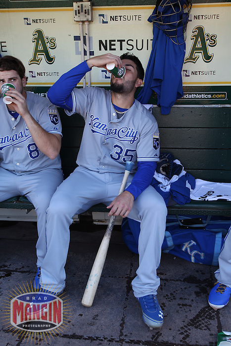 OAKLAND, CA - MAY 18:  Eric Hosmer #35 of the Kansas City Royals drinks Gatorade in the dugout before the game against the Oakland Athletics at O.co Coliseum on Saturday May 18, 2013 in Oakland, California. Photo by Brad Mangin