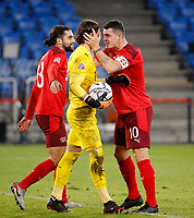 14th November 2020; St.Jakob Park, Basel, Switzerland; Nations League International Football, Switzerland versus Spain; Ricardo Rodriguez congratulates goalie Yann Sommer on saving the 2nd penalty from Spain with Granit Xhaka