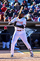 Wisconsin Timber Rattlers outfielder Demi Orimoloye (6) at bat during a Midwest League game against the Beloit Snappers on April 7, 2018 at Fox Cities Stadium in Appleton, Wisconsin. Beloit defeated Wisconsin 10-1. (Brad Krause/Four Seam Images)