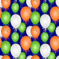 """Seamless pattern of balloons in India flag colors and blue background.<br /> <br /> Suitable for projects related to Indian Republic Day (26th January), Indian Independence Day (15th August) or other Indian patriotic themes.<br /> <br /> This Image is also available as a PNG file.<br /> <br /> WANT TO ZOOM IN ON JUST THE BASE TILE OF THIS PATTERN TO HAVE A CLOSER LOOK?<br /> <br /> You can also find the image of a single tile of this pattern in this gallery.<br /> <br /> Tip: It should be the image next to this one, or, just search """"seamless+balloons+India""""!"""