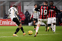 Federico Chiesa of Juventus FC scores the goal of 1-2 during the Serie A football match between AC Milan and Juventus FC at San Siro Stadium in Milano  (Italy), January 6th, 2021. Photo Federico Tardito / Insidefoto
