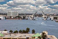 Ft. Lauderdale, Florida.  SE 17th Street Bridge Open over Stranahan River.