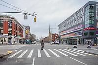 NOVA YORK, EUA, 25.03.2020 - CORONAVIRUS-EUA - Ruas e avenidas do bairro do Harlem em Manhattan são vistas vazias durante a pandemia do Coronavirus COVID19 em Nova York nos Estados Unidos . (Foto: Vanessa Carvalho/Brazil Photo Press)
