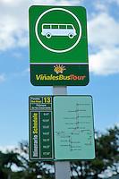 Cuba, Pinar del Rio Region, Viñales (Vinales) Area.  Bus Stop Sign and Route Map.