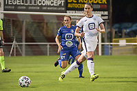 Karina Pelikanova (22) of Anderlecht and Emma Van Britsom (6) of AA Gent Ladies pictured during a female soccer game between RSC Anderlecht Dames and AA Gent Ladies  on the fourth matchday of the 2021 - 2022 season of Belgian Womens Super League , friday 10 th of September 2021 in Overijse , Belgium . PHOTO SPORTPIX | DIRK VUYLSTEKE